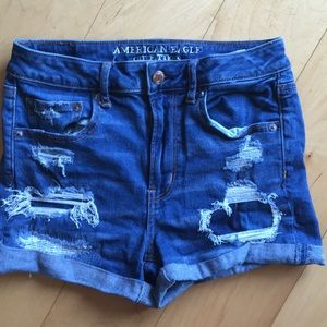 American Eagle superstretch distressed jean shorts